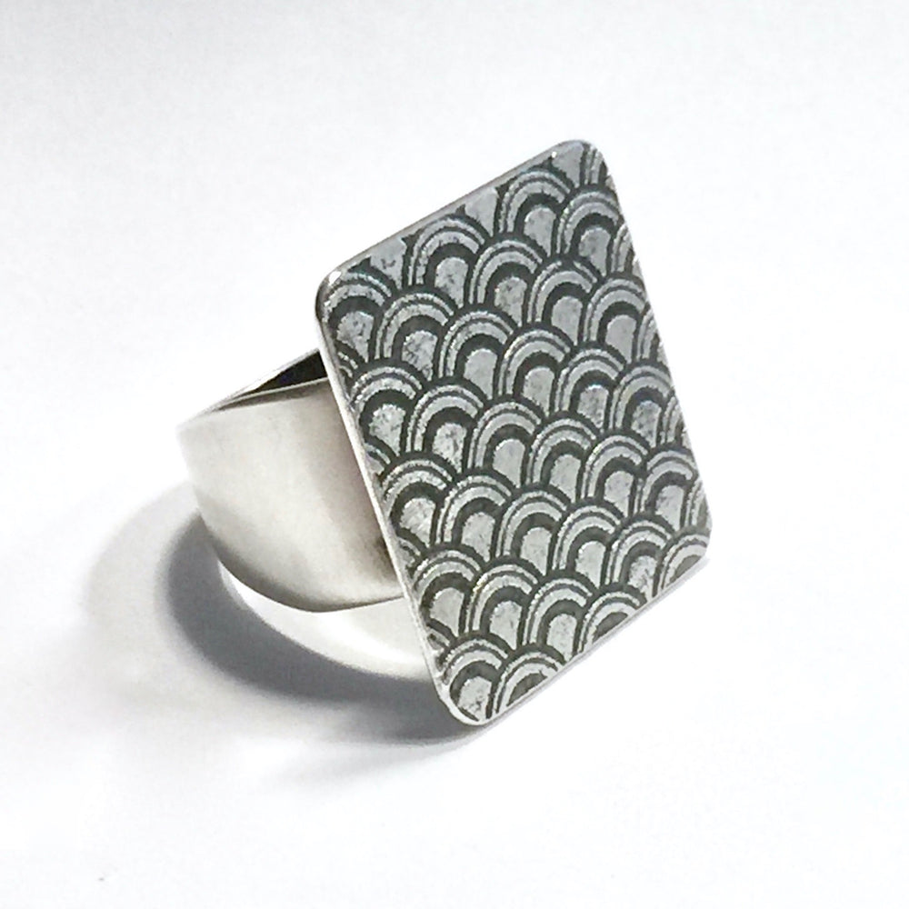 Sterling Silver Wave Plate Ring