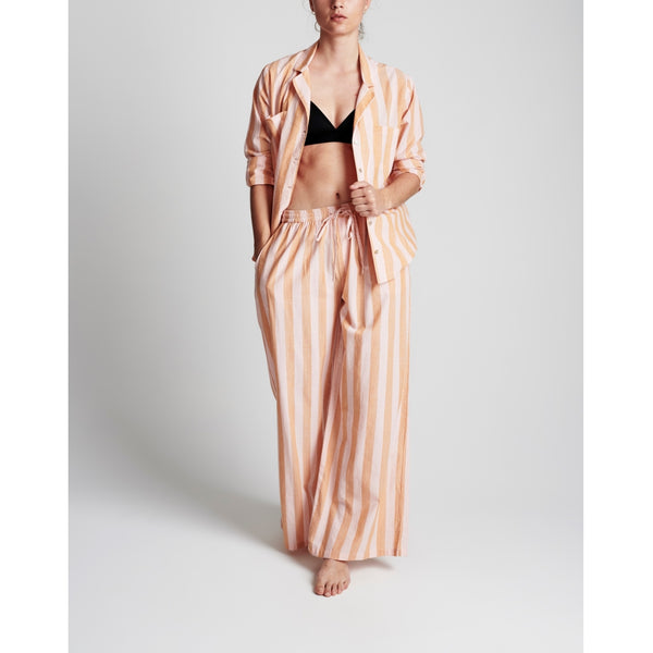 lulu's drawer Iman shirt Loungewear Fudge/peach stripe