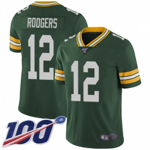 Men's Green Bay Packers #12 Aaron Rodgers Green Team Color Vapor Untouchable Limited Player 100th Season Football Jersey - Fan Gear Nation