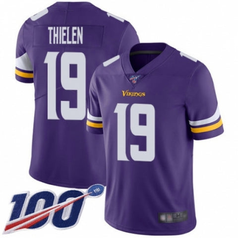 Men's Minnesota Vikings #19 Adam Thielen Purple Team Color Vapor Untouchable Limited Player 100th Season Football Jersey