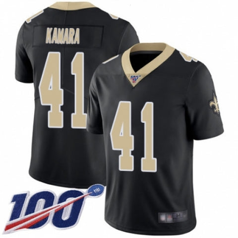 Men's New Orleans Saints #41 Alvin Kamara Black Team Color Vapor Untouchable Limited Player 100th Season Football Jersey