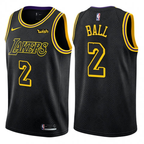 Nike Men's Los Angeles Lakers Lonzo Ball Swingman City Edition Jersey Black - Fan Gear Nation
