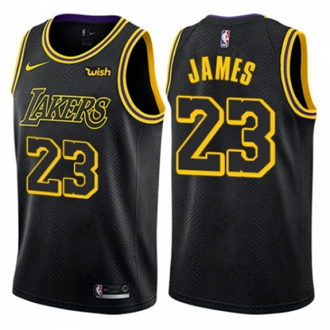 Nike Men's Los Angeles Lakers LeBron James Swingman City Edition Jersey Black
