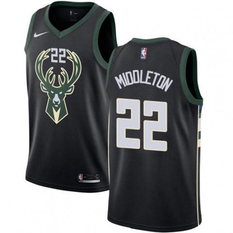 Men's Milwaukee Bucks Khris Middleton Alt Jersey Statement Edition Black - Fan Gear Nation
