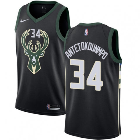 Nike Men's Milwaukee Bucks Giannis Antetokounmpo Alt Jersey Statement Black - Fan Gear Nation