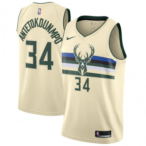 Men's Milwaukee Bucks Giannis Antetokounmpo City Edition Jersey Cream - Fan Gear Nation