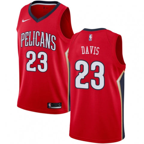 Nike Men's New Orleans Pelicans Anthony Davis Alt Jersey Statement Edition Red - Fan Gear Nation