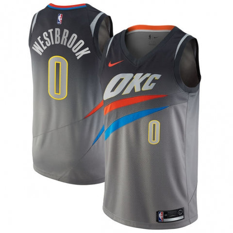 Men's Oklahoma City Thunder Russell Westbrook City Edition Jersey Gray - Fan Gear Nation