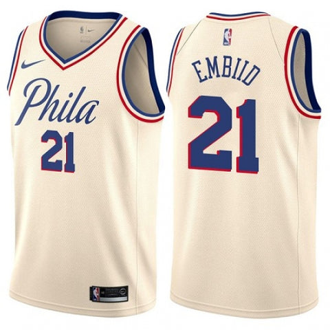 Nike Men's Philadelphia 76ers Joel Embiid Swingman Jersey City Edition Cream - Fan Gear Nation