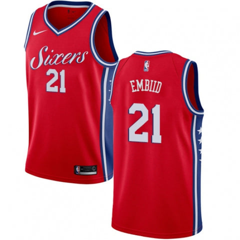 Nike Men's Philadelphia 76ers Joel Embiid Alternate Jersey Statement Edition Red - Fan Gear Nation
