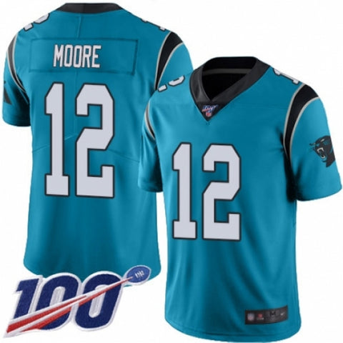 Mens Carolina Panthers  DJ Moore Game Vapor 100th Season Jersey Blue - Fan Gear Nation
