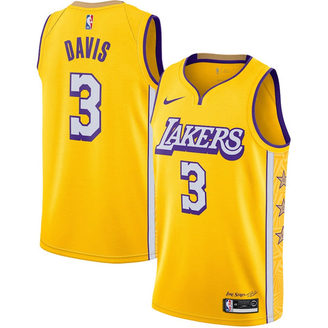 Mens Los Angeles Lakers Anthony Davis City Jersey Gold - Fan Gear Nation