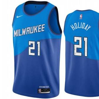 Mens Milwaukee Bucks Jrue Holiday City Jersey Blue - Fan Gear Nation