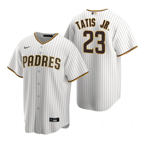Mens San Diego Padres Fernando Tatis Jr. White Brown Replica Home Jersey - Fan Gear Nation