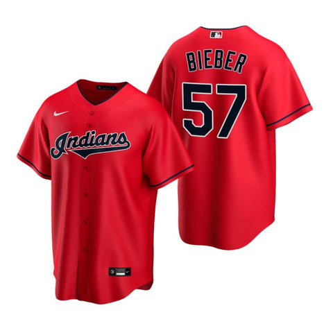 Mens Cleveland Indians Shane Bieber Cool Base Replica Jersey Red - Fan Gear Nation