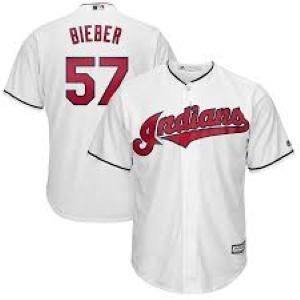 Mens Cleveland Indians Shane Bieber Cool Base Replica Jersey White - Fan Gear Nation