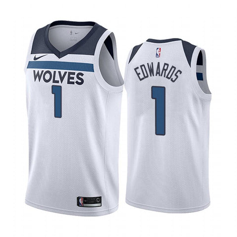 Mens Minnesota Timberwolves Anthony Edwards Association Jersey White - Fan Gear Nation