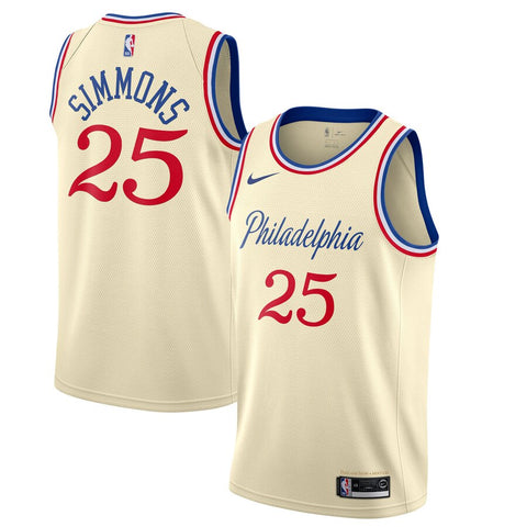 Nike Men's Philadelphia 76ers Ben Simmons City Edition Jersey Cream - Fan Gear Nation