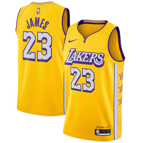Men's Los Angeles Lakers Lebron James City Edition Jersey Gold - Fan Gear Nation