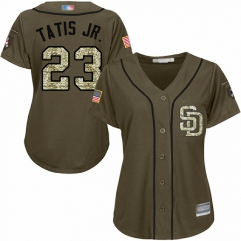 Womens San Diego Padres Fernando Tatis Jr. Green Salute to Service Cool Base Jersey - Fan Gear Nation