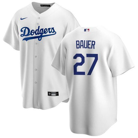 Youth Los Angeles Dodgers Trevor Bauer Cool Base Jersey White - Fan Gear Nation