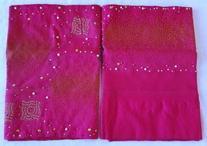 Fuschia Stoned and beaded Asooke set