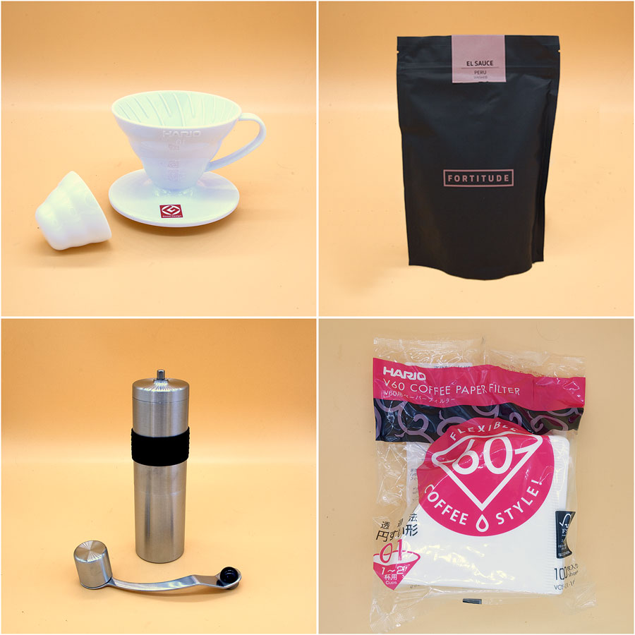 Coffee Starter Gift Set - Grinder, Coffee, V60, Filters