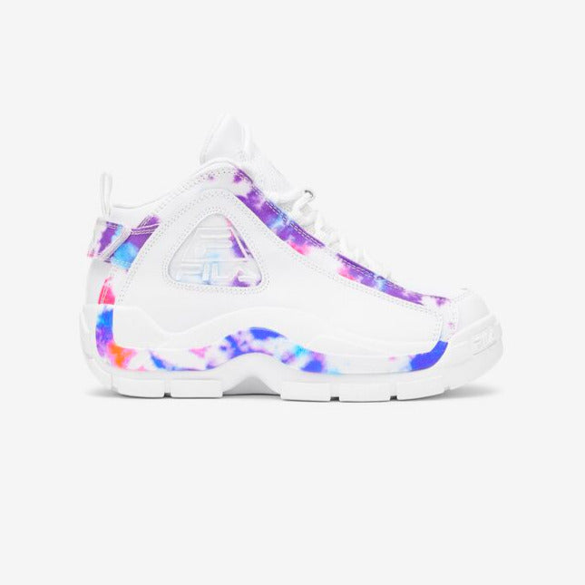 Whtie leather upper trimmed in tie dye and the with tie dye Fila logo