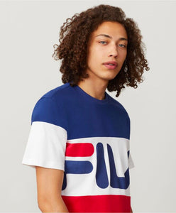3 color large color block top is navy sleeves and middle is white. middle has FILA written in Navy a hint of red bottom block is red