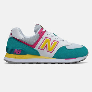 multi color. yellow N logo outlined in pink teal heal and lower toe box.