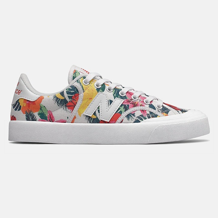white shoe with color floral print