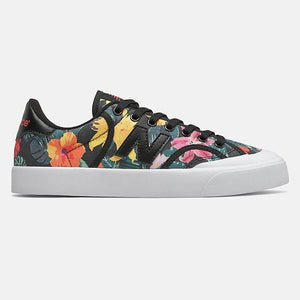 black shoe with floral print