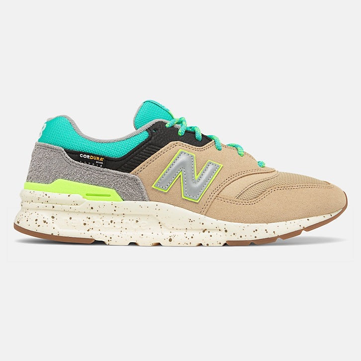 Tan leather with grey N logo outlined in volt green. Grey Suede heel with Sea green tongue, shoe strings andoutlining the ankle