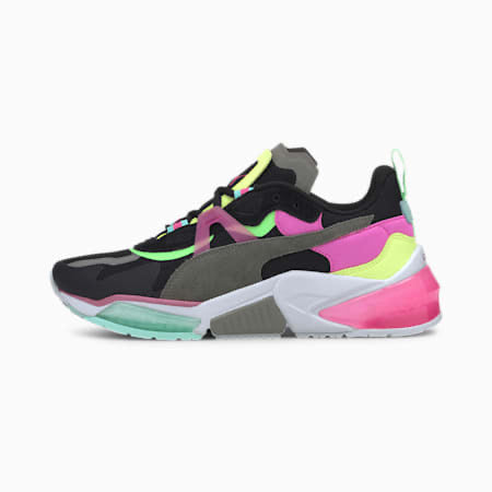 multi color black, pink, yellow, neon green. multi matierals suede, mesh, leather
