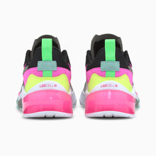 Load image into Gallery viewer, multi color black, pink, yellow, neon green. multi matierals suede, mesh, leather