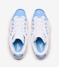 Load image into Gallery viewer, top view: columbia blue patent leather to. columbia blue shoe strings eyelets and insoles