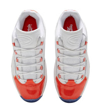 Load image into Gallery viewer, top view: vivid orange patent leather toe box, insoles, and shoe string eyelets