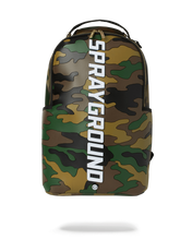 Load image into Gallery viewer, front view: camo print bag made of premium rubber. vertical sprayground text logo going down middle of bag.