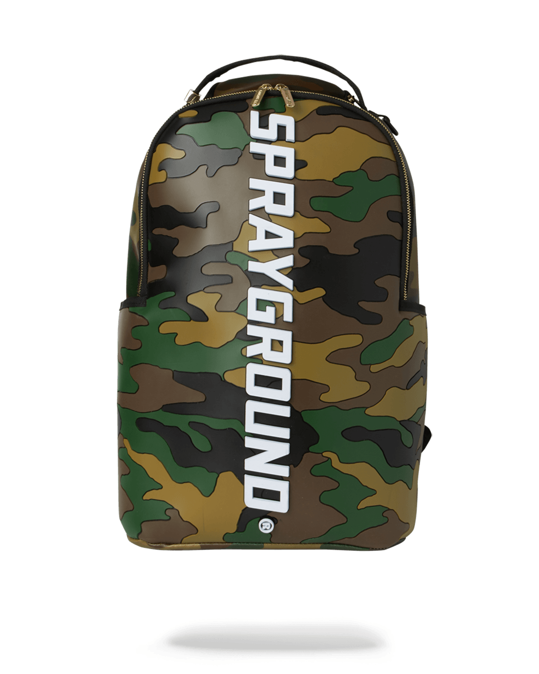 front view: camo print bag made of premium rubber. vertical sprayground text logo going down middle of bag.