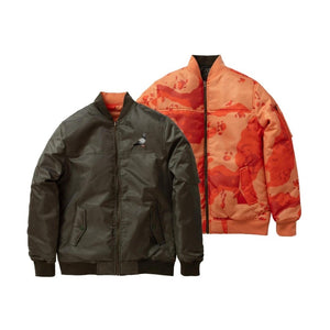 Staple Reversible Bomber Jacket - Olive / Orange