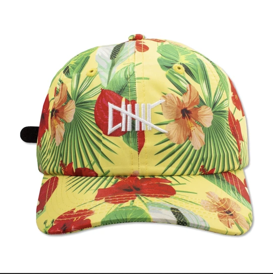 Yellow hat with red green pink floral print