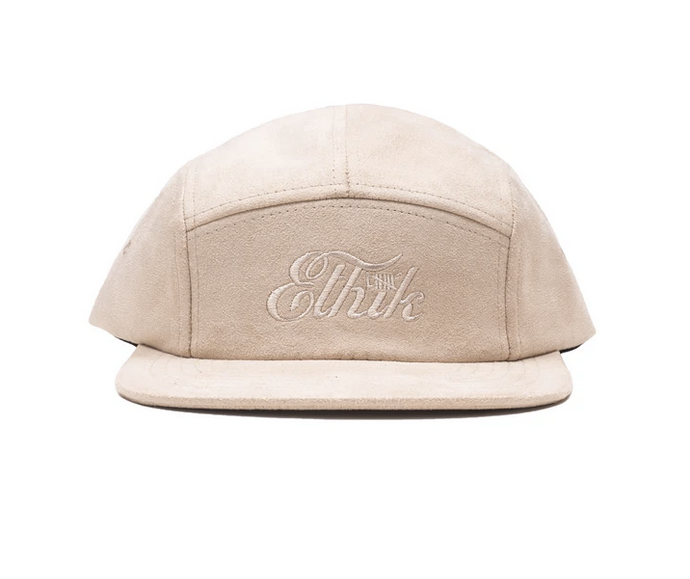 cream Suede Camper Hat with Embroidered Ethik logo on front