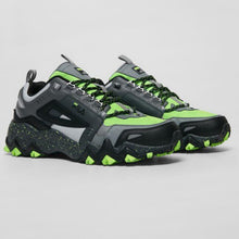 Load image into Gallery viewer, Chunky sole Green Gecko accents and toe box with Grey leather accents with fila Black flag
