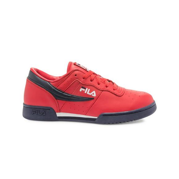 red tumbled leather embroidered fila logo navy fila flag on outer right of shoe navy outsole