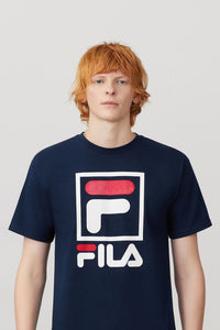 navy t-shirt with a white Fila F in a white box ( F is white on bottom and red on top) word fila with the same F is under box