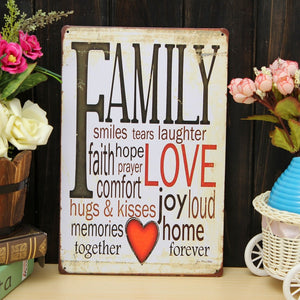 """Family Love"" Metal Pub Wall Tavern Garage Poster Vintage Sign Tin Plaque Shop House Home Decor"