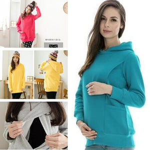 Maternity clothes Nursing tops Winter Sweater Breastfeeding Tops Maternity Hoodie Thermal pregnancy clothes
