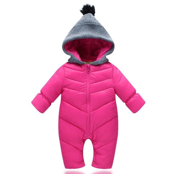 Newborn Baby Romper Duck Down Cotton Infant Bodysuit Hooded Boys Girls Jumpsuit Waterproof Overalls Winter Crawling Clothes
