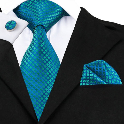 Fashion Men's Necktie Teal Jacquard Woven Silk Tie Pocket Square Cufflinks for Wedding Business (Color: Teal)