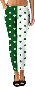 Green & White Split Stars Leggings